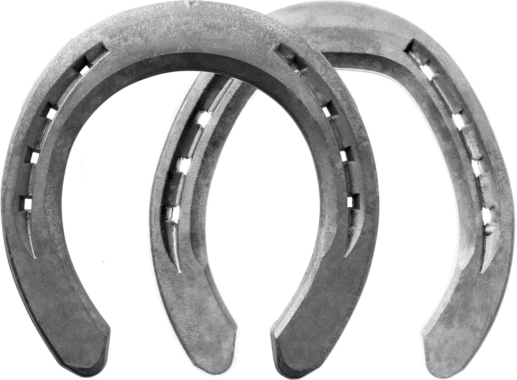 Mustad Equi-Librium Air horseshoes, front and hind, bottom view