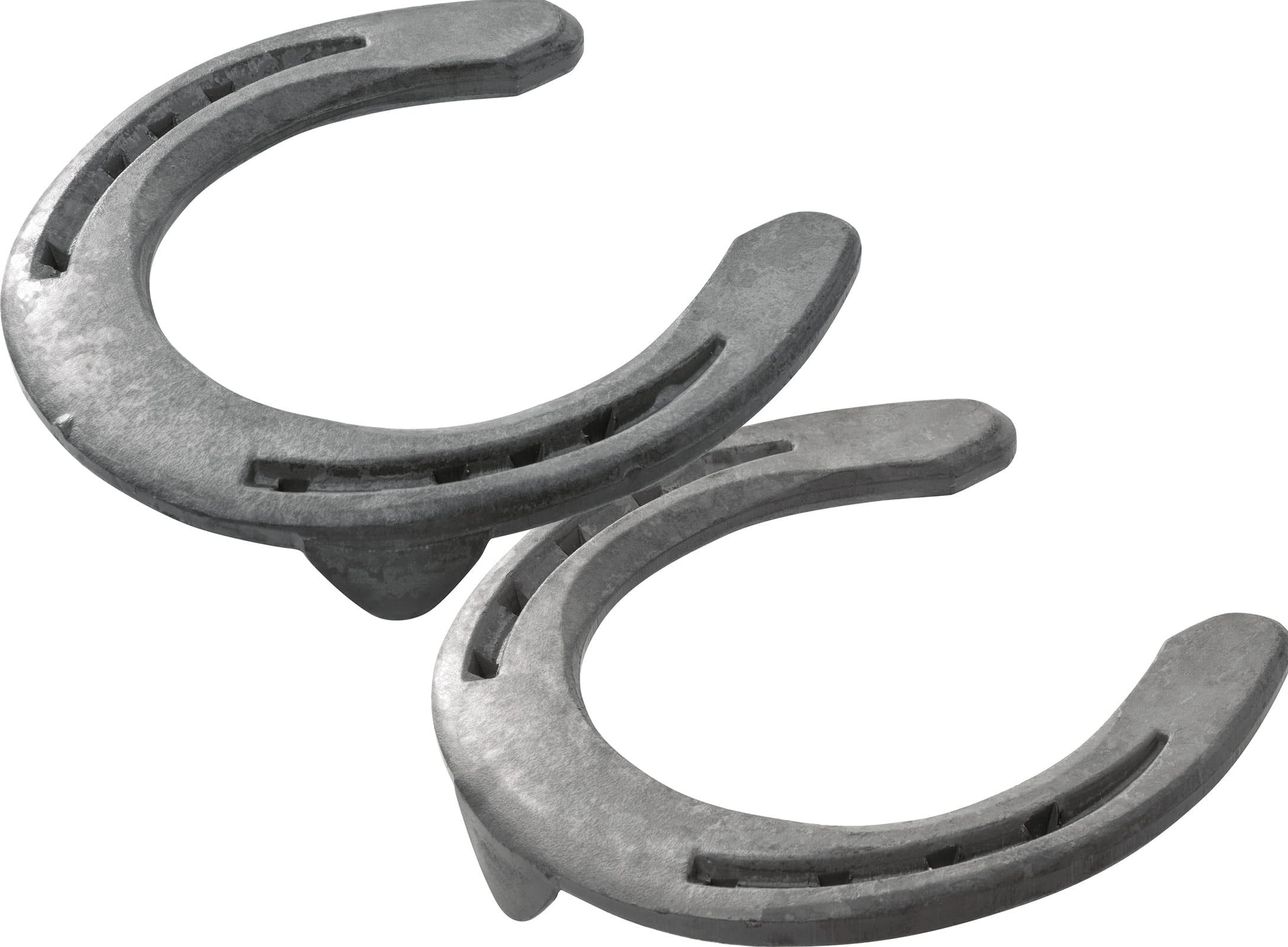 Mustad Equi-Librium horseshoes, front, side clips and toe clip, 3D bottom view