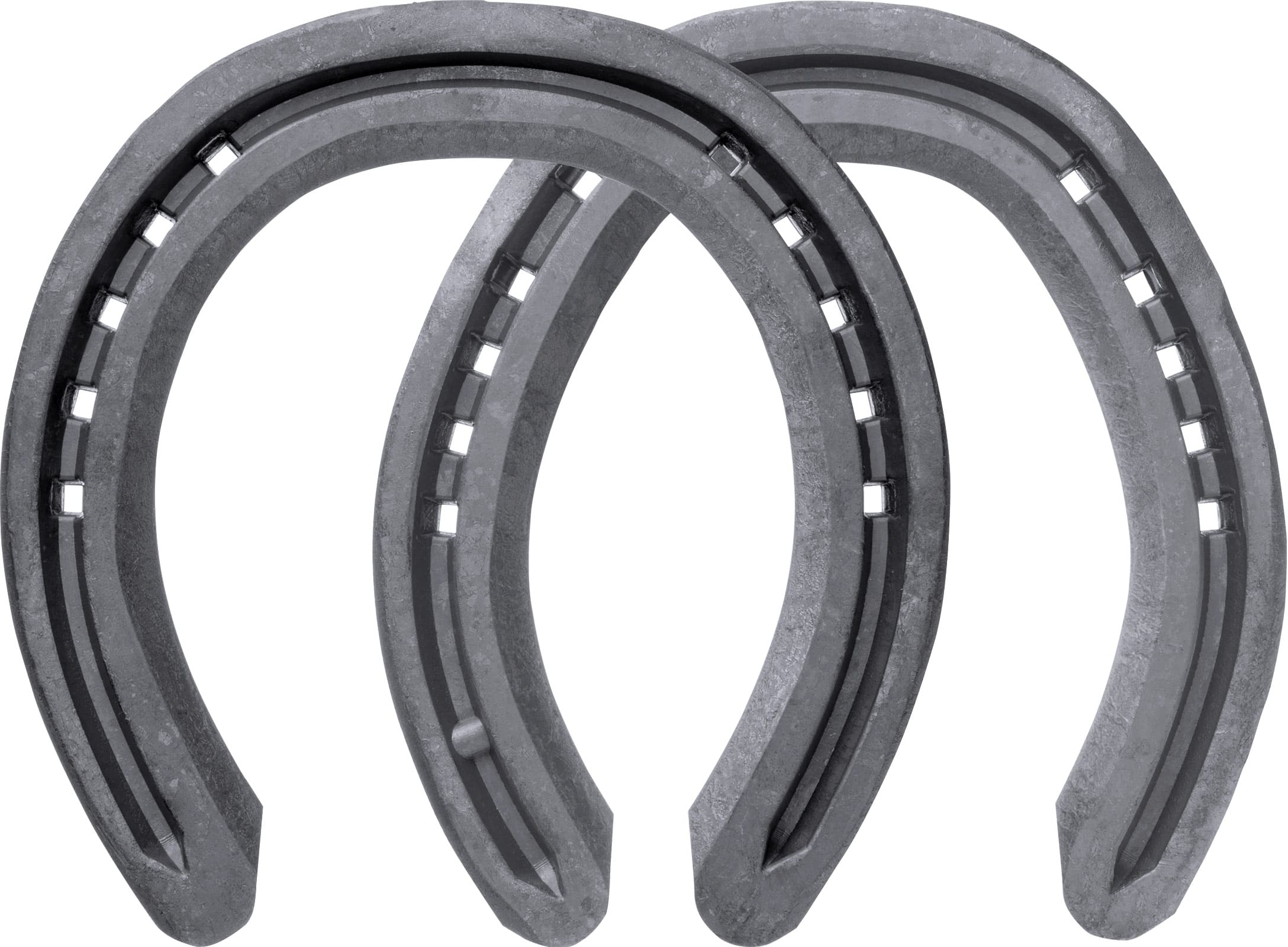 Mustad LiBero Concave horseshoes, front and hind, bottom view