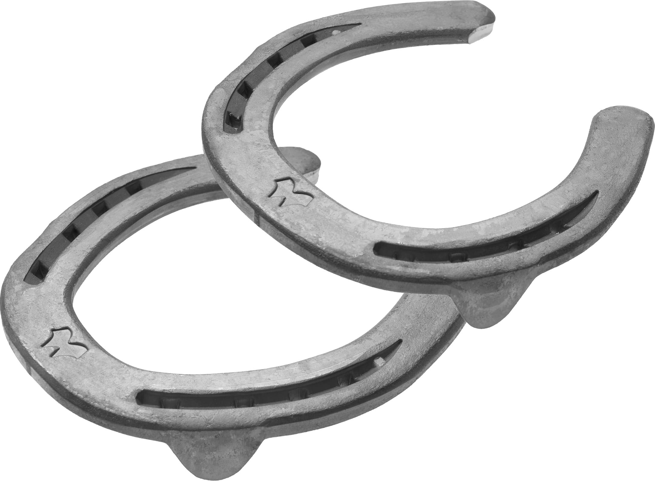Mustad LiBero horseshoes, front and hind, 3D bottom view