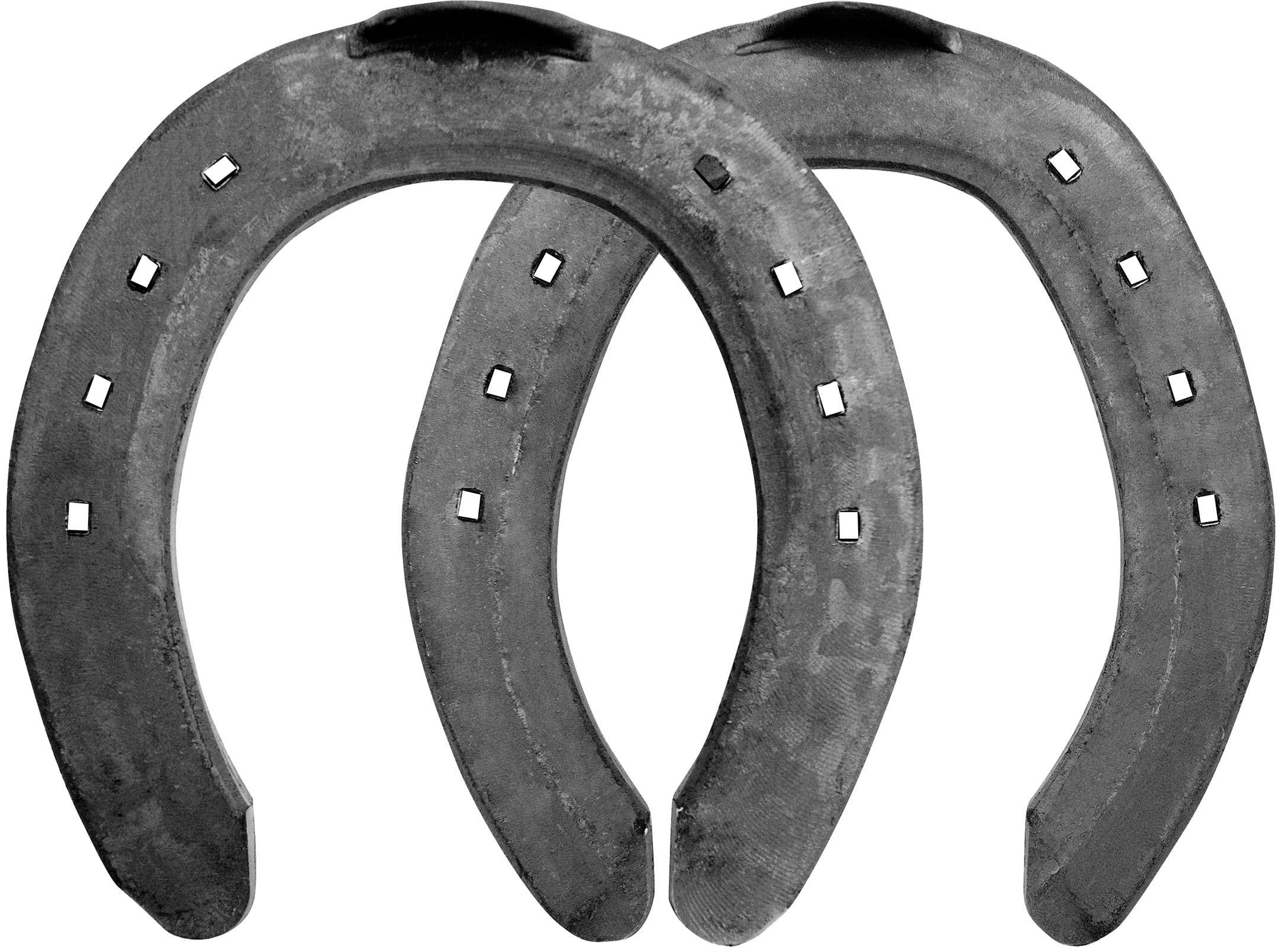 Mustad SM horseshoes, front and hind, top view