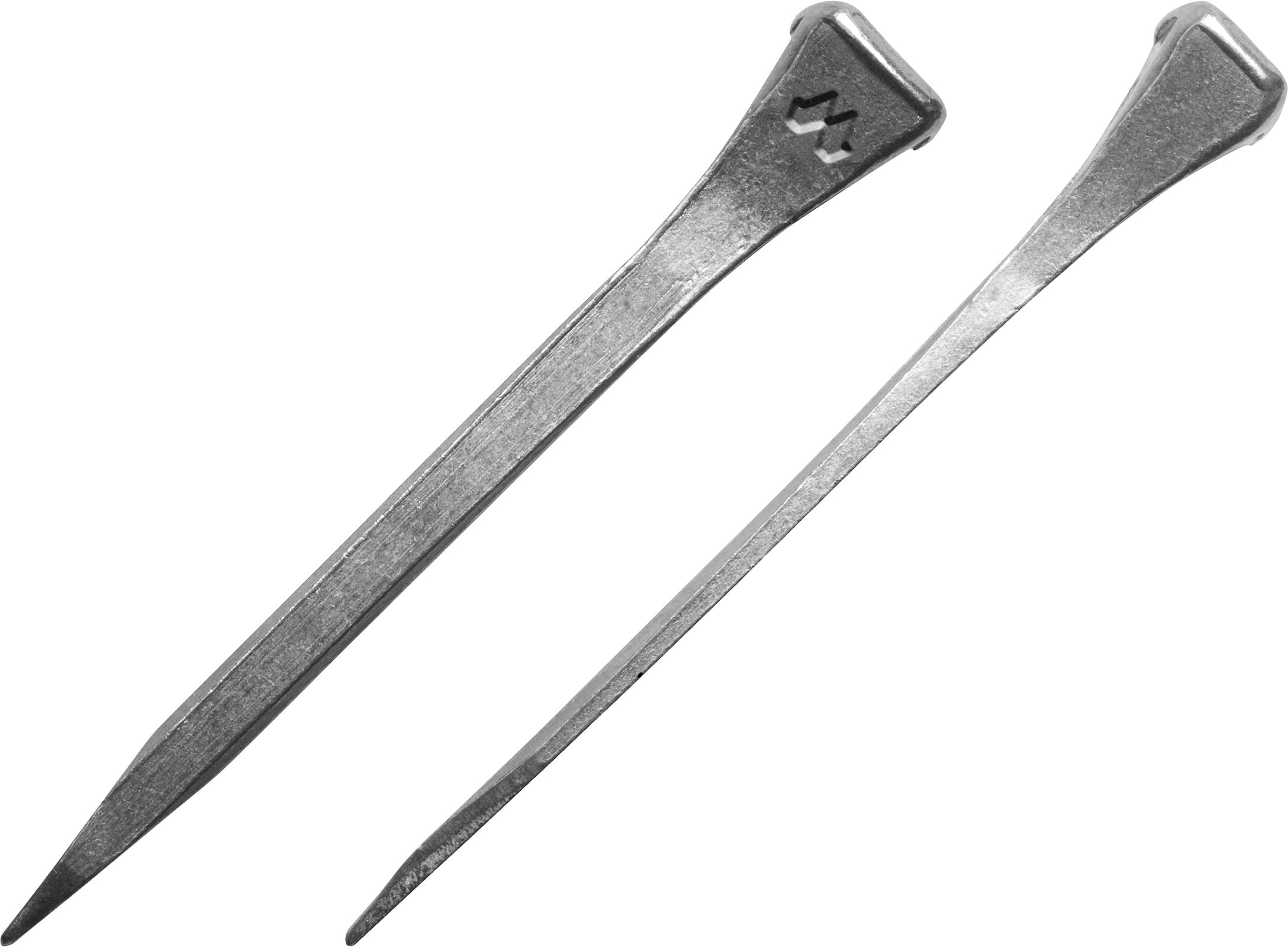 Mustad JCF hoof nails, front and side views