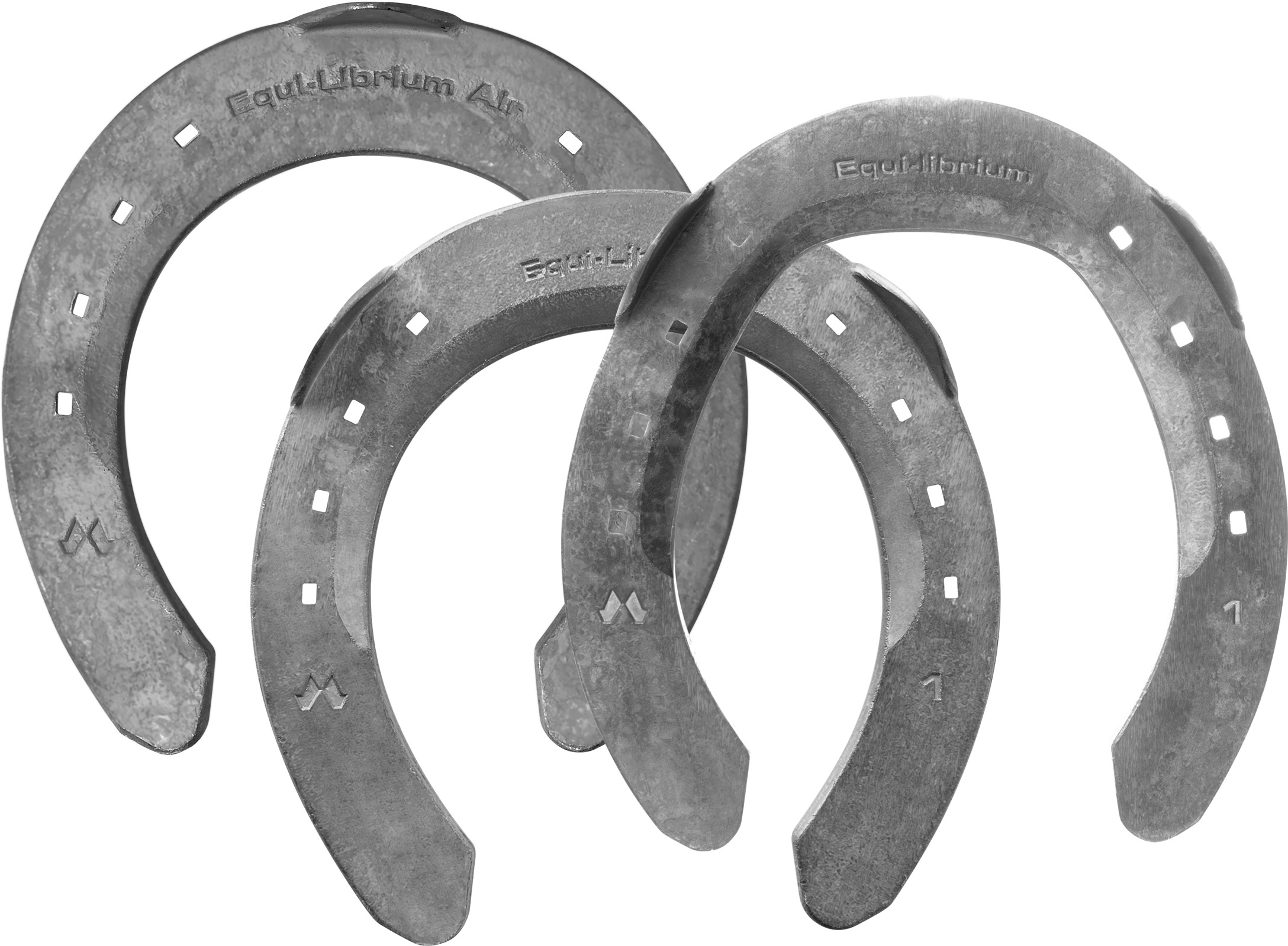 Mustad Equi-Librium Air horseshoes, front and hind, top view