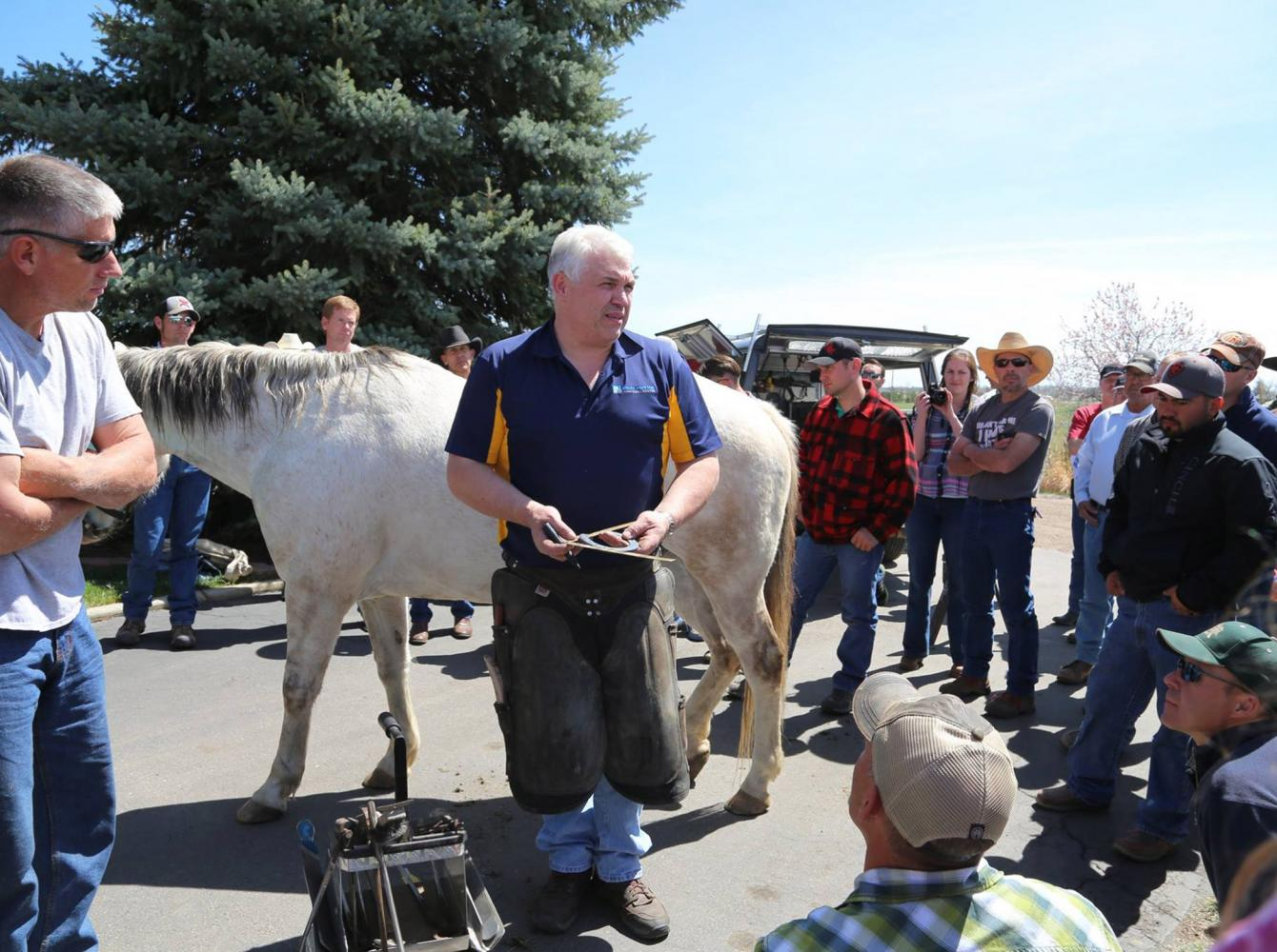 Grant Moon gives a clinic for farriers in the US