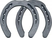Mustad BaseMax horseshoes, front and hind, bottom view