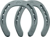 Mustad LiBero Pony horseshoes, front and hind, bottom view