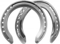 St. Croix Concorde Xtra Aluminium horseshoes, front and hind, bottom side view