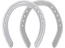 St. Croix Ultra Lite Aluminium horseshoes, front and hind, bottom side view